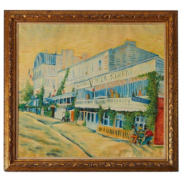 Large Impressionist Painting of a French Street Scene For Sale