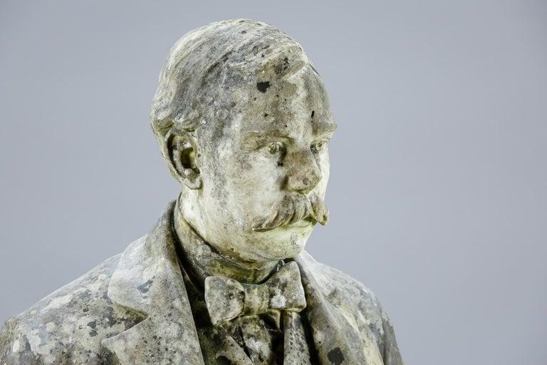 Impressive scale English marble bust, nice weathering impressive detail. England Circa 1880.