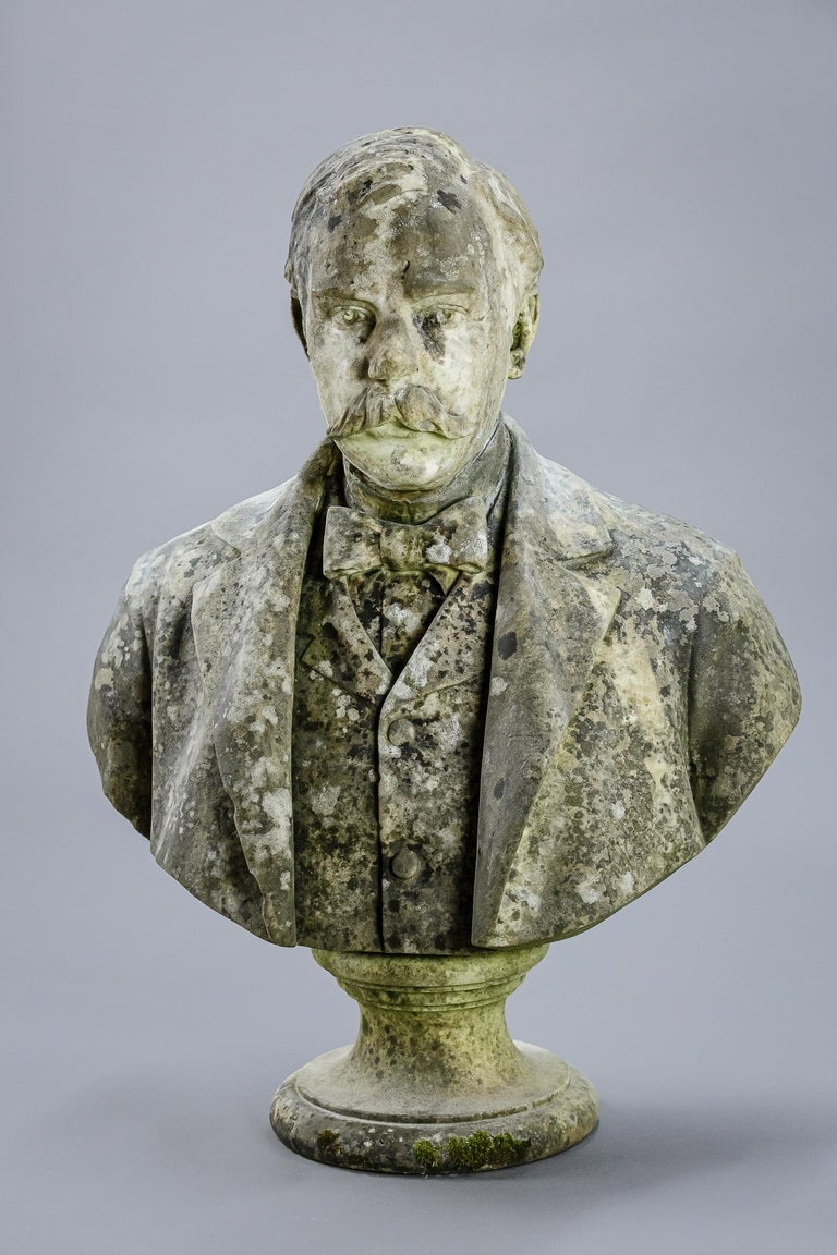 Hand-Carved Large Impressive 19th Century English Marble Bust For Sale