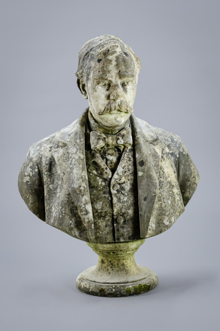 Large Impressive 19th Century English Marble Bust In Good Condition For Sale In Pease pottage, West Sussex