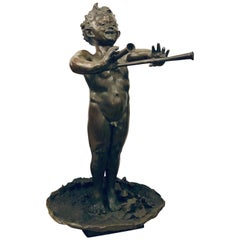Large Impressive 19th Century Signed Bronze Flute Playing Pan Sculpture