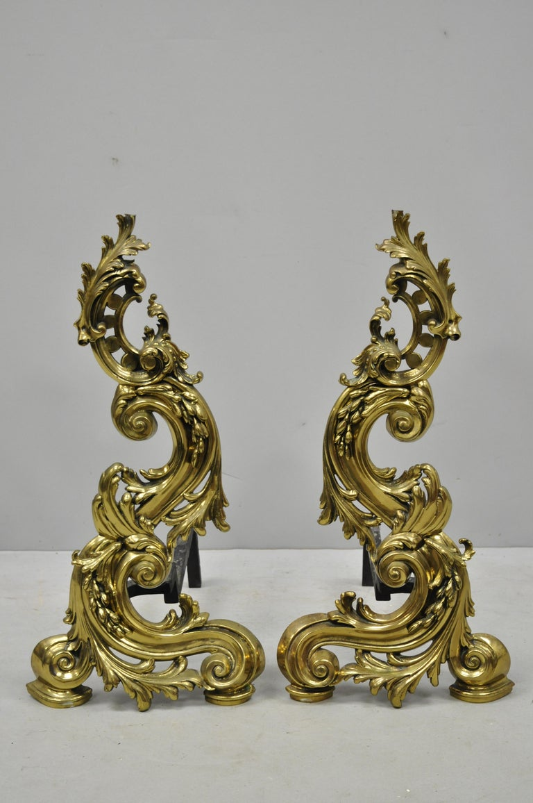 Large Impressive Antique French Rococo Baroque Style Acanthus Scroll Andirons For Sale 4