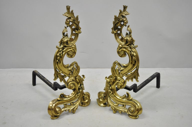 Cast Large Impressive Antique French Rococo Baroque Style Acanthus Scroll Andirons For Sale