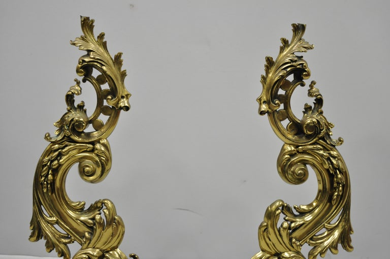 Large Impressive Antique French Rococo Baroque Style Acanthus Scroll Andirons In Good Condition For Sale In Philadelphia, PA