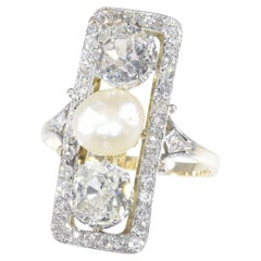 Large Impressive Belle Epoque Art Deco Diamond and Pearl Engagement Ring, 1920s