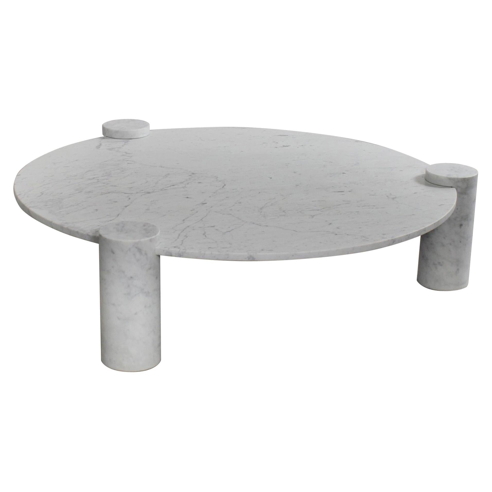 Large Impressive Carrara Marble Coffee Table Made in Italy, 1970s