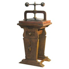 Large Impressive Cast Iron Copying/Book Press on a Trestle Wood Stand circa 1850