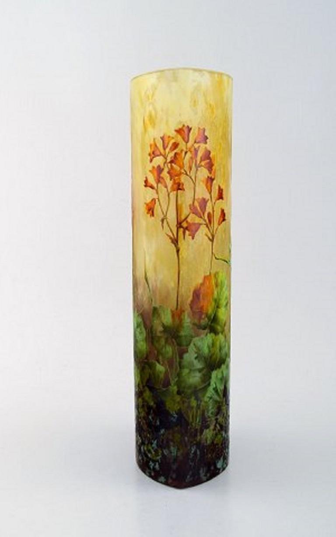 French Large, Impressive Daum Nancy Art Nouveau Vase in Mouth Blown Enamelled Art Glass
