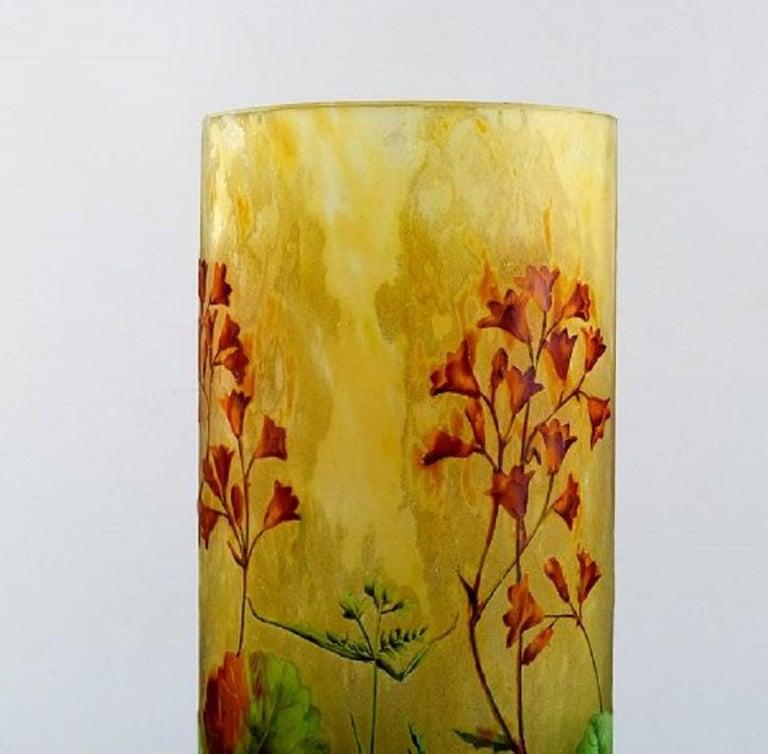 Large, Impressive Daum Nancy Art Nouveau Vase in Mouth Blown Enamelled Art Glass In Good Condition In Copenhagen, Denmark