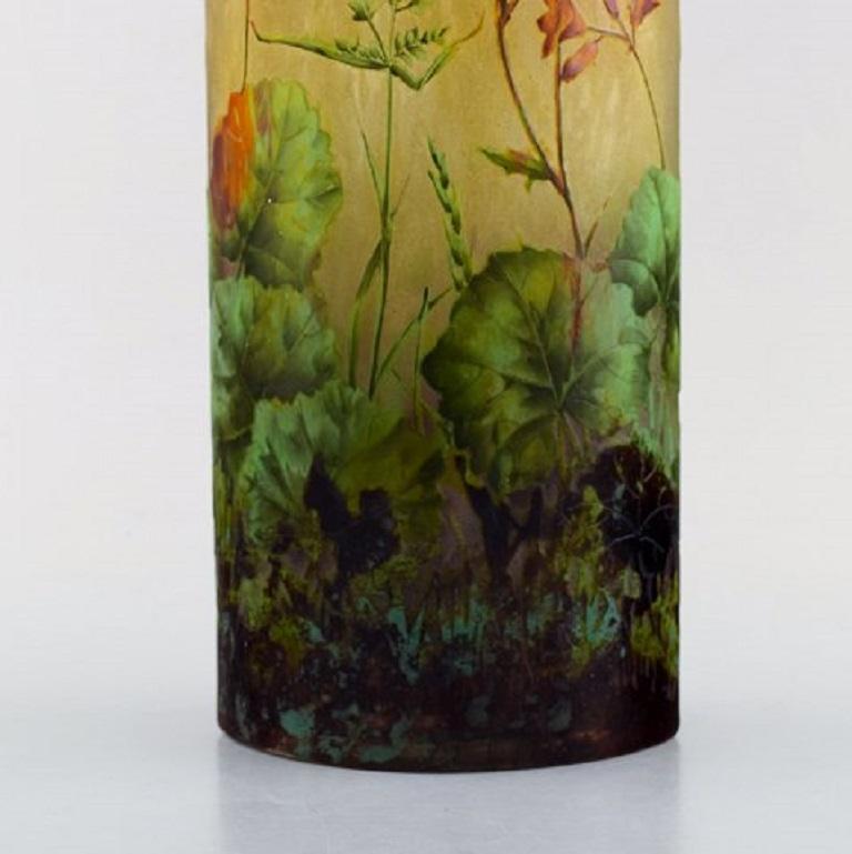 19th Century Large, Impressive Daum Nancy Art Nouveau Vase in Mouth Blown Enamelled Art Glass
