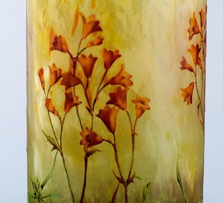 Large, Impressive Daum Nancy Art Nouveau Vase in Mouth Blown Enamelled Art Glass 1