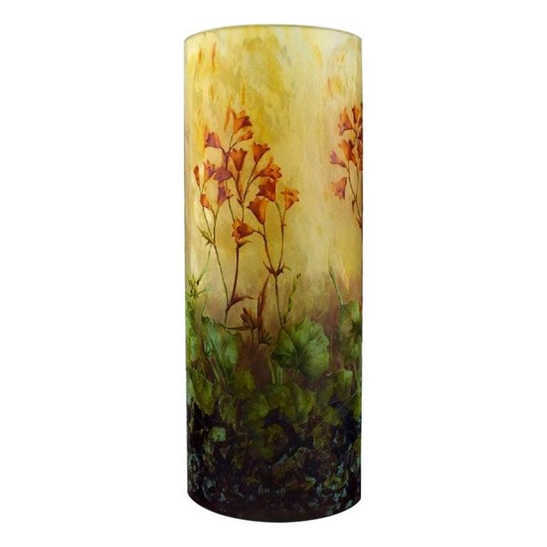 Large, Impressive Daum Nancy Art Nouveau Vase in Mouth Blown Enamelled Art Glass
