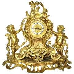 Large, Impressive Louis XV Gilt Bronze Mantle Clock