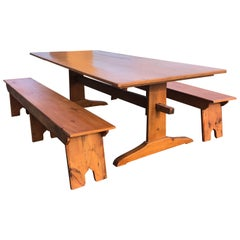 Large Impressive Maine Artisan Crafted Trestle Farm Table with Matching Benches