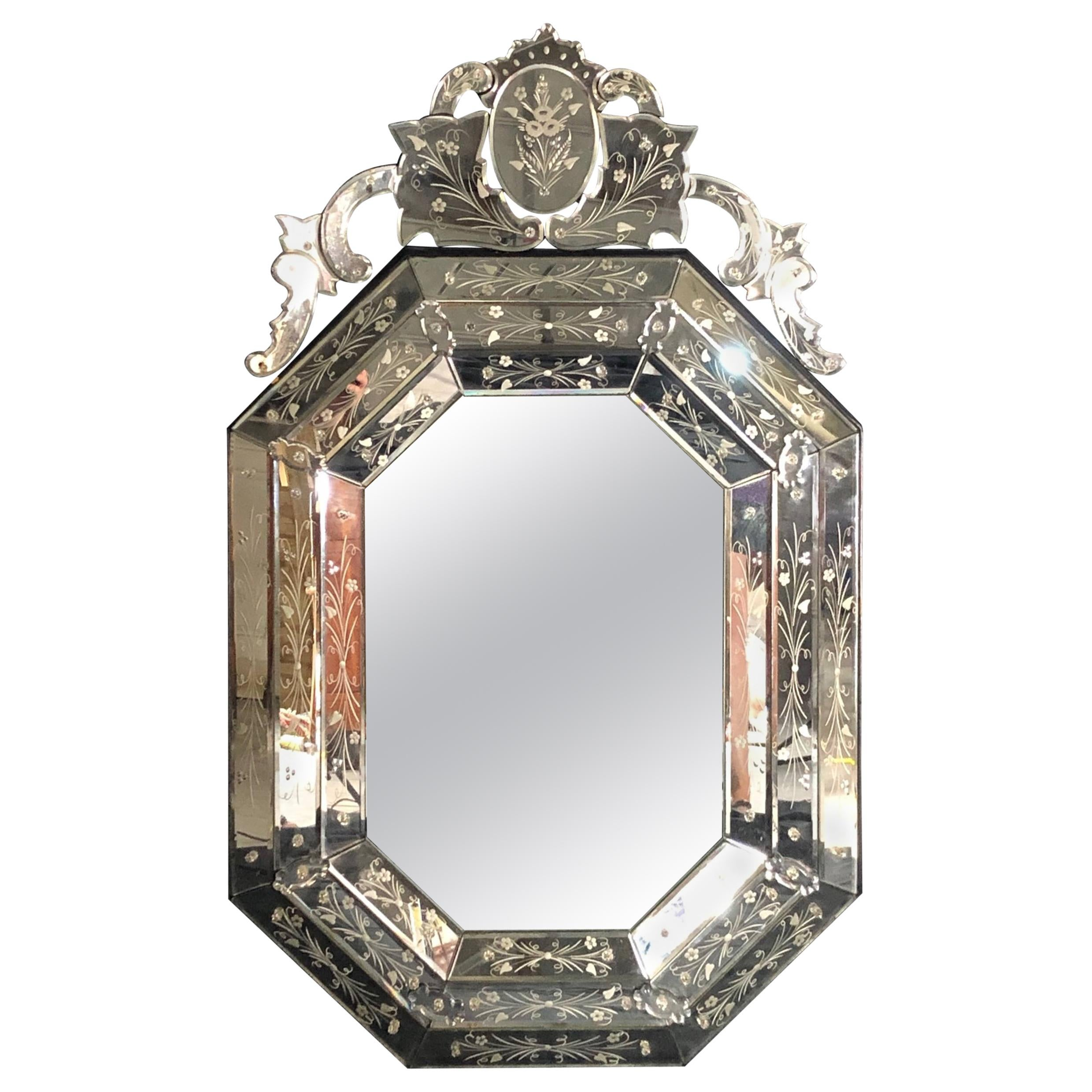 Large Impressive Octagonal Venetian Style Mirror