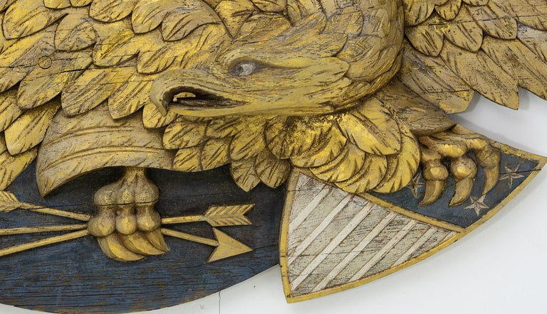American Large Impressive Size Carved and Gilded Eagle For Sale