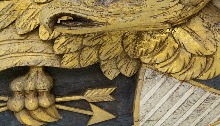 20th Century Large Impressive Size Carved and Gilded Eagle For Sale