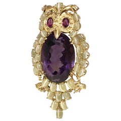 Large Impressive Yellow Gold Cats Eye Ruby Diamond Amethyst Owl Brooch Pendant