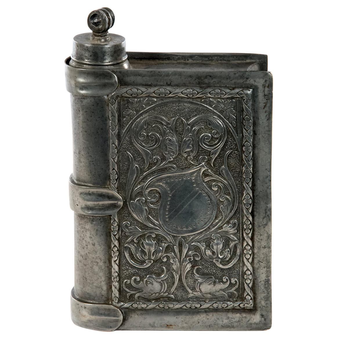 Large Incised Pewter Flask in form of a Book