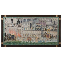 Large Indian Illustration Painted on Silk