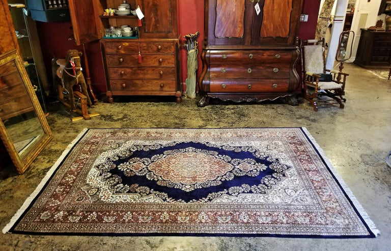 Made in Kashmir, India from really luxurious silk. Large area rug