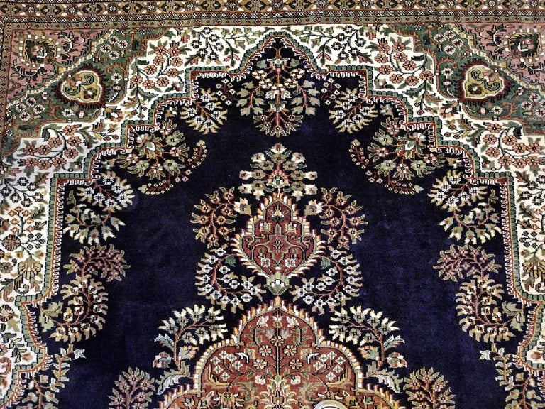 Hand-Woven Large Indian Kashmir Silk Area Rug, Sapphire Blue, Green, Brown and Cream For Sale