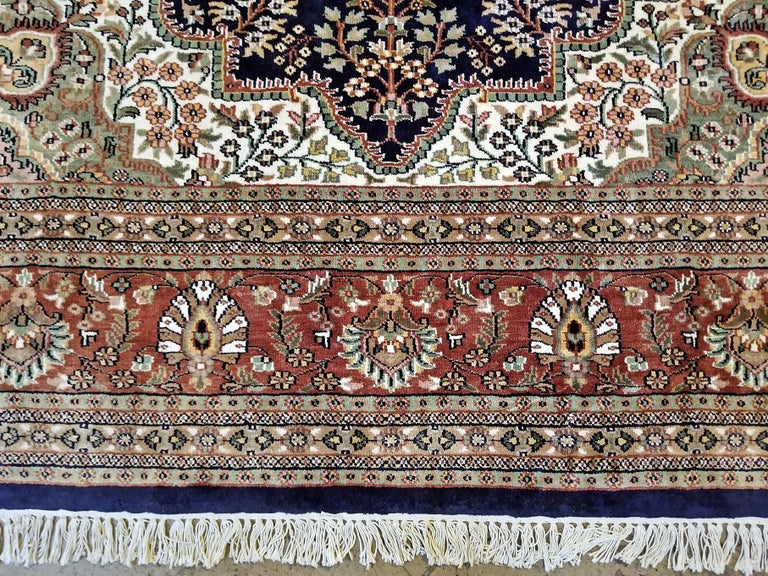 20th Century Large Indian Kashmir Silk Area Rug, Sapphire Blue, Green, Brown and Cream For Sale