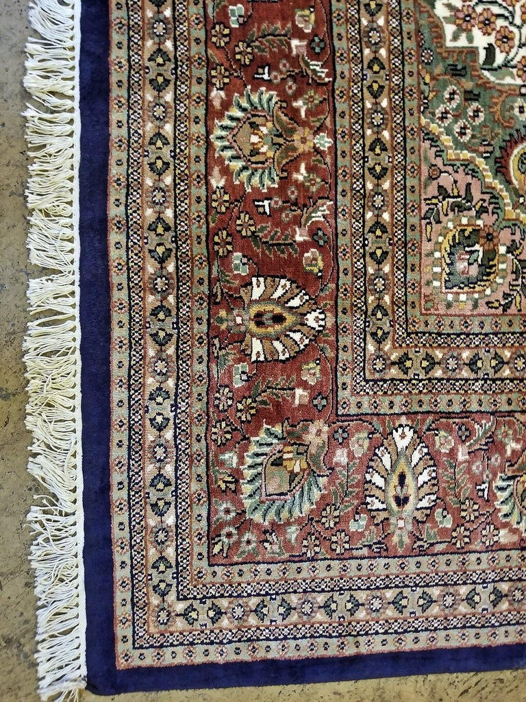 Large Indian Kashmir Silk Area Rug, Sapphire Blue, Green, Brown and Cream For Sale 1