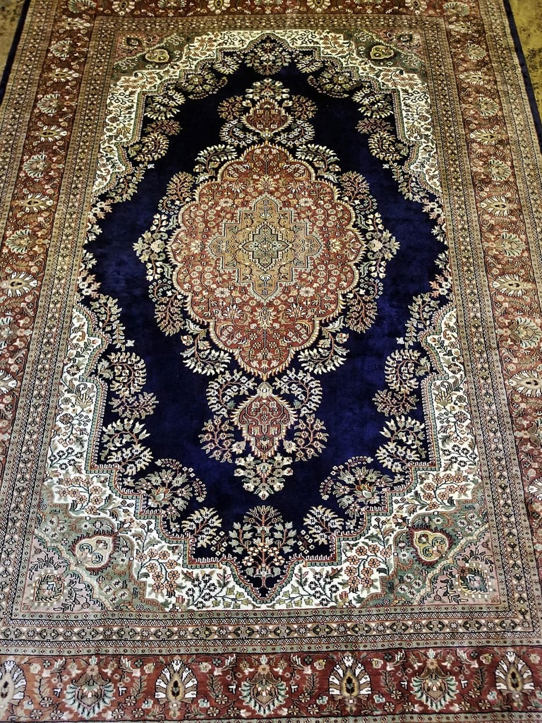 Large Indian Kashmir Silk Area Rug, Sapphire Blue, Green, Brown and Cream For Sale 2