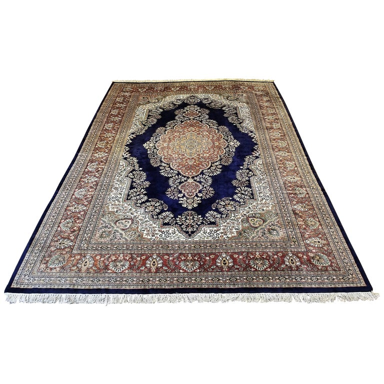 Large Indian Kashmir Silk Area Rug Sapphire Blue Green Brown And