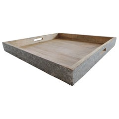 Large Indian Reclaimed Wood Square Tray with Silver Tin Trim