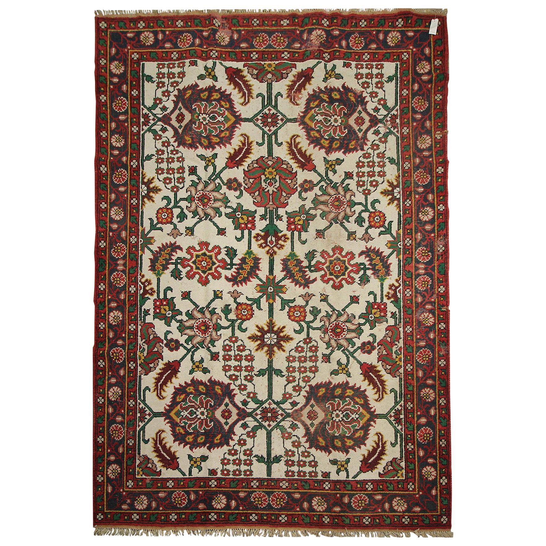 Large Indian Rug Handwoven Wool Oriental Carpet