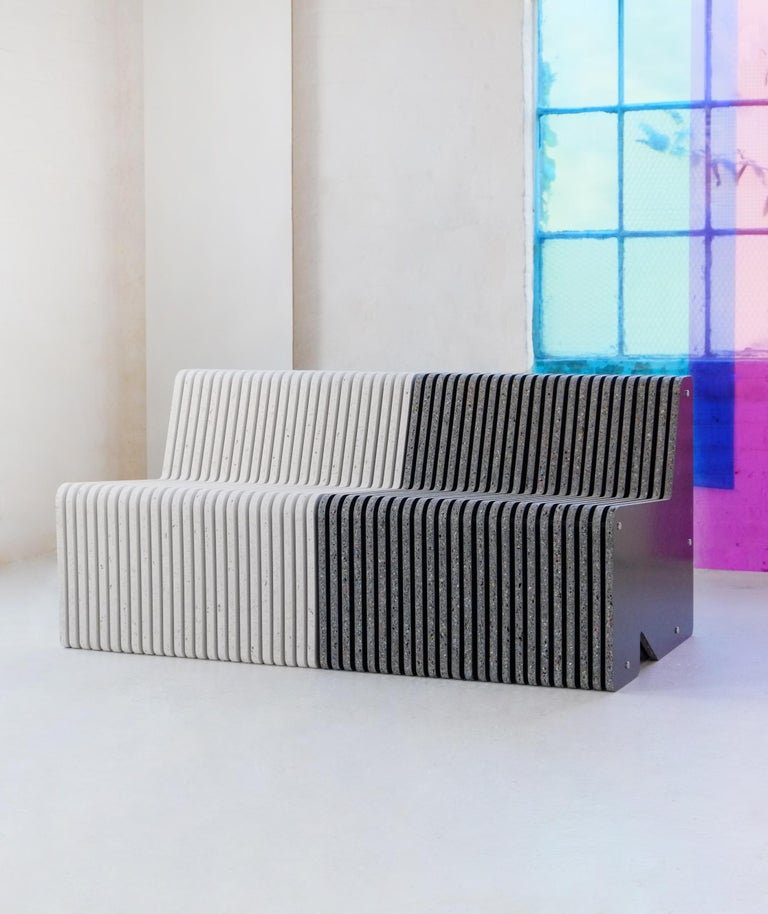 Organic Modern Sustainable Large Indoor / Outdoor Jää Bench Made with 100% Recycled Plastic For Sale