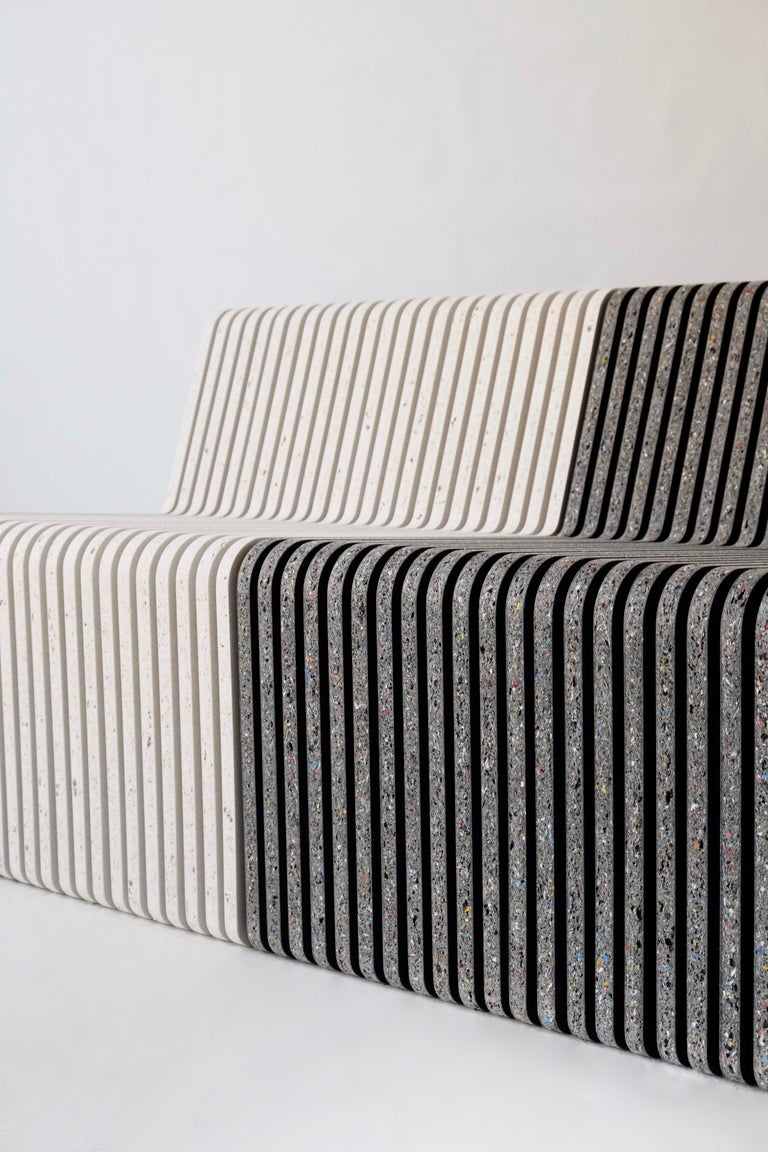 Minimalist Large Indoor / Outdoor Jää Bench Made with 100% Recycled Plastic For Sale
