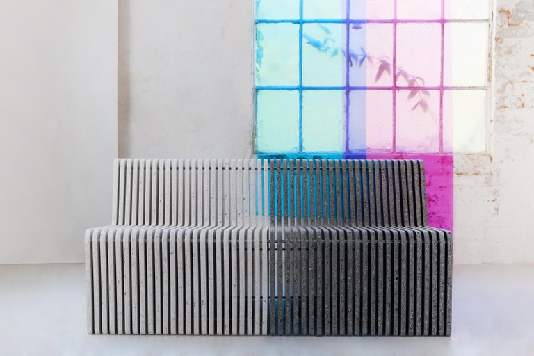 Metalwork Sustainable Large Indoor / Outdoor Jää Bench Made with 100% Recycled Plastic For Sale