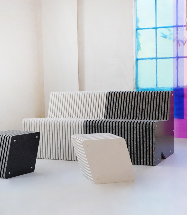 Contemporary Sustainable Large Indoor / Outdoor Jää Bench Made with 100% Recycled Plastic For Sale