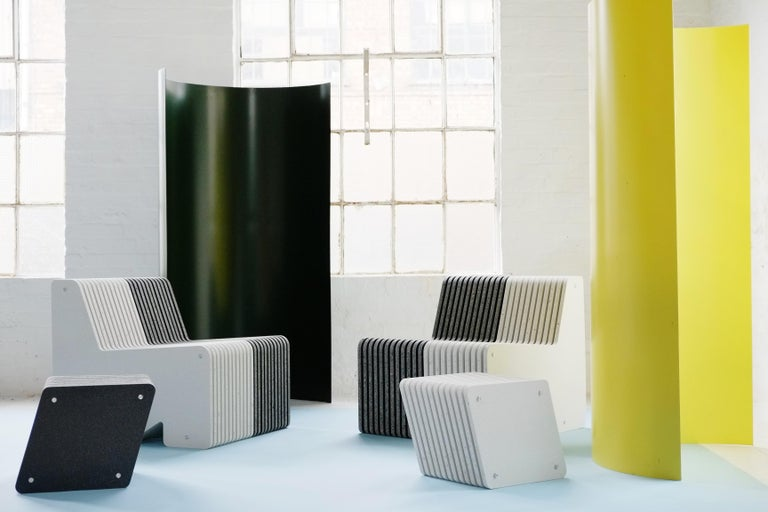 Contemporary Large Indoor / Outdoor Jää Bench Made with 100% Recycled Plastic For Sale