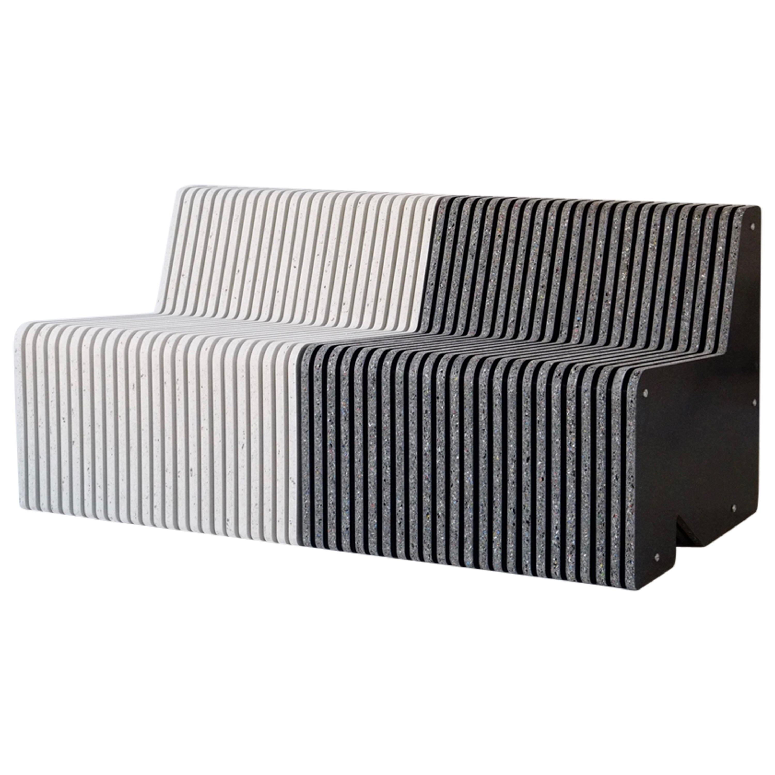 Sustainable Large Indoor / Outdoor Jää Bench Made with 100% Recycled Plastic