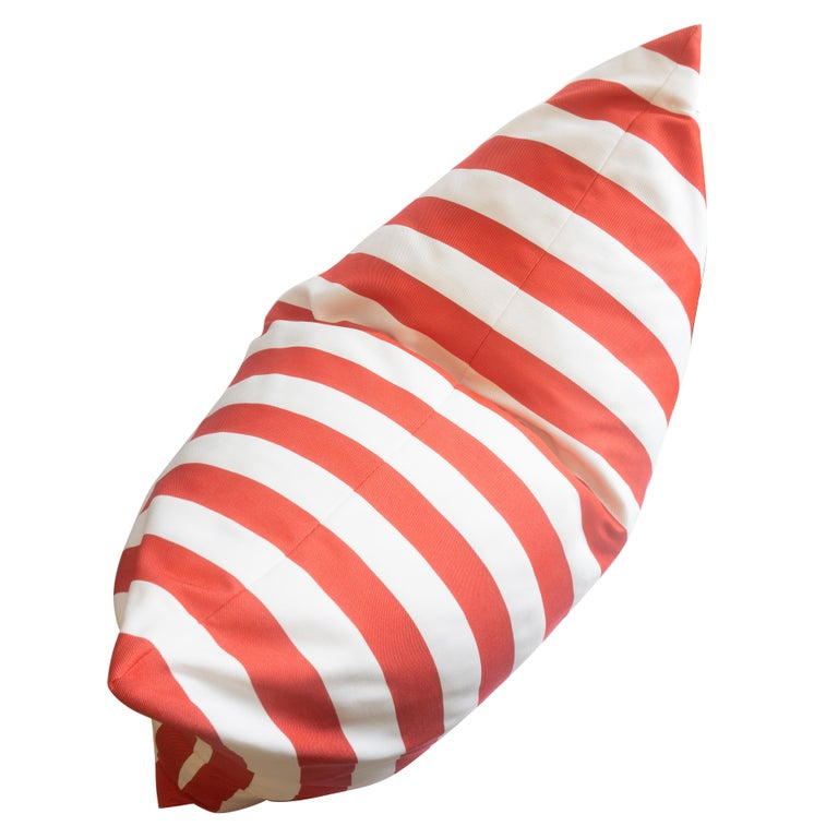 Modern Large Indoor/Outdoor Red and White Striped Pillow For Sale