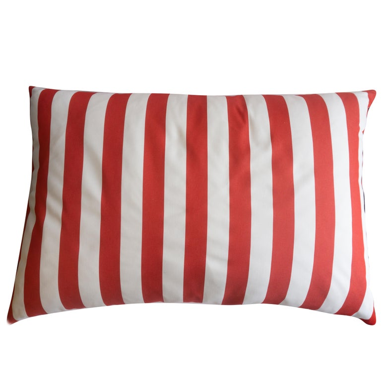 American Large Indoor/Outdoor Red and White Striped Pillow For Sale