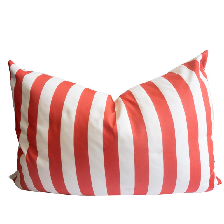 Large Indoor/Outdoor Red and White Striped Pillow For Sale