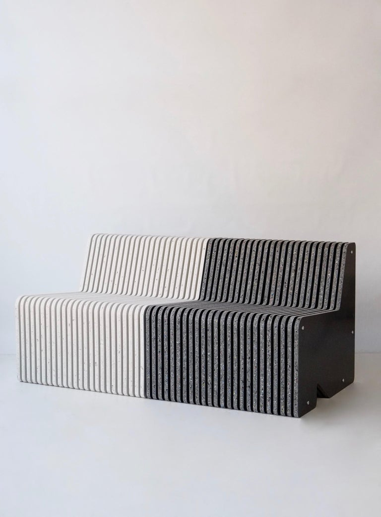 Organic Modern Sustainable Indoor or Outdoor Bench Seating - Jää Sofa and Side Table Set For Sale