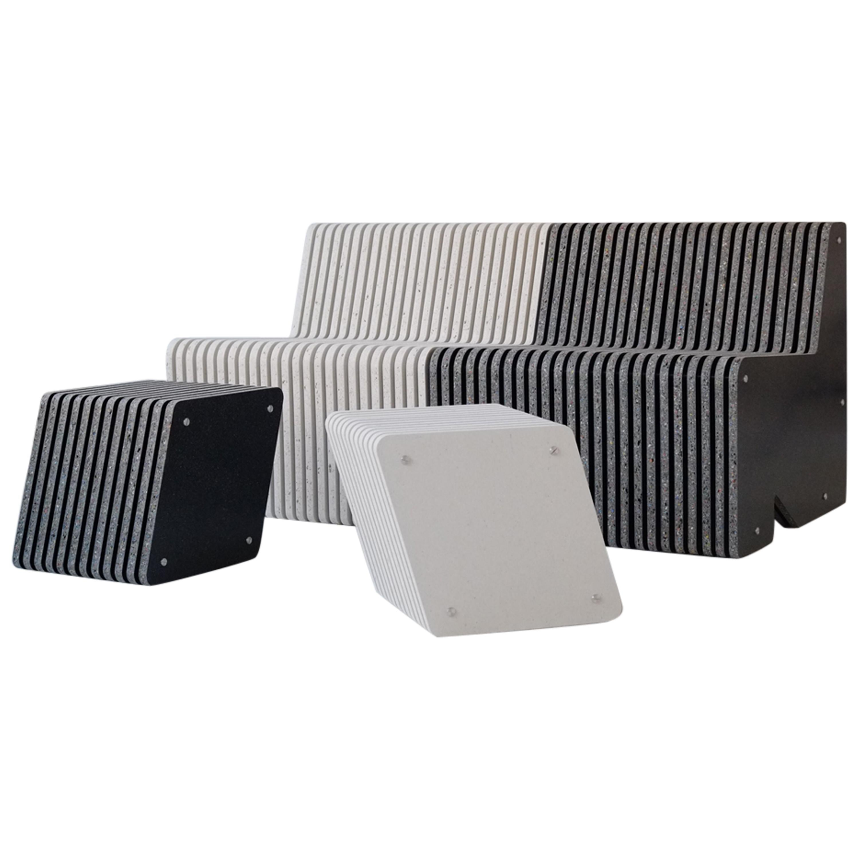 Sustainable Indoor or Outdoor Bench Seating - Jää Sofa and Side Table Set