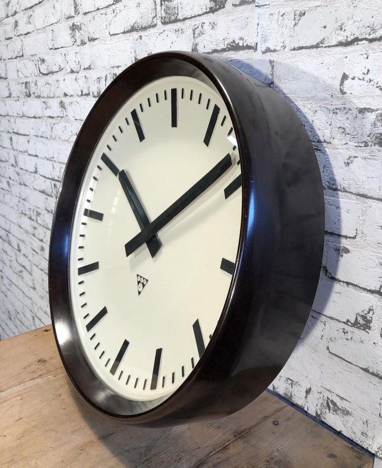 Czech Large Industrial Bakelite Factory Wall Clock from Pragotron, 1960s For Sale