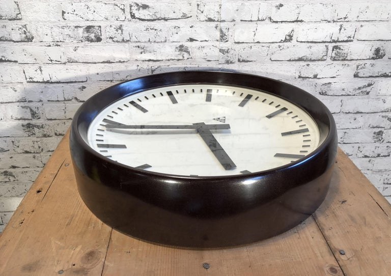 Mid-20th Century Large Industrial Bakelite Factory Wall Clock from Pragotron, 1960s For Sale