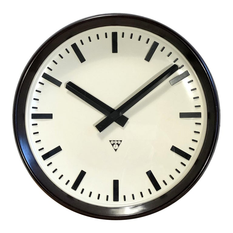 Large Industrial Bakelite Factory Wall Clock from Pragotron, 1960s For Sale