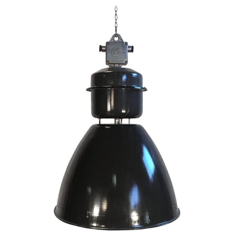 Large Industrial Black Enamel Factory Lamp From