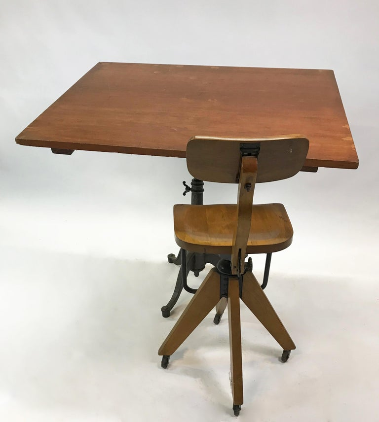 Large Industrial Cherry Drafting Table Cast Iron Pedestal Base In Good Condition For Sale In Brooklyn, NY