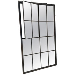 Large Industrial Factory Iron Window Converted to Mirror