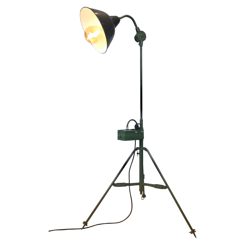 Large Industrial Floor Lamp, Military Spotlight, Army Green Painted Metal